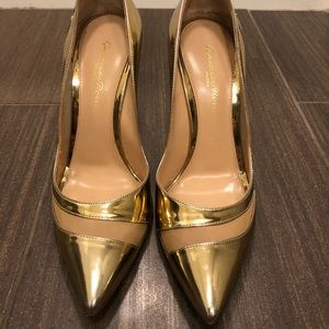 gianvito rossi gold mesh patent pumps